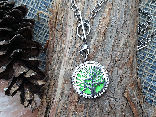 Jeweled Tree of Life Stainless Steel Pendant