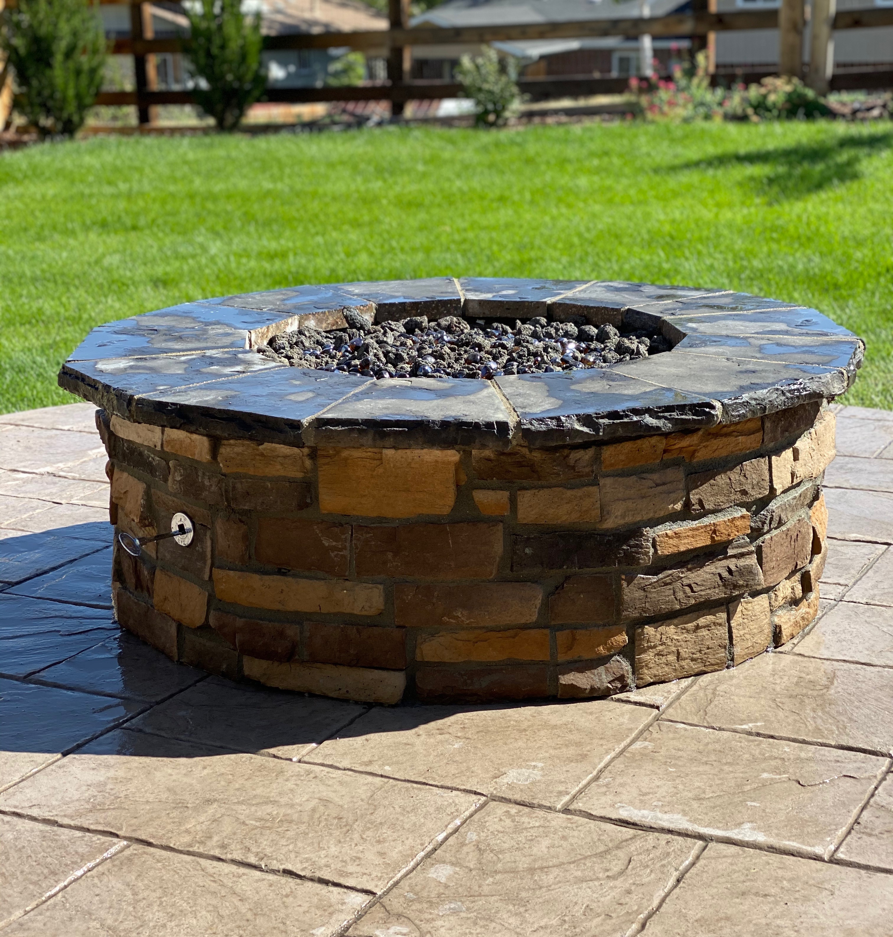 Finished with a natural gas fire pit