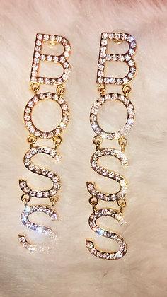 Hanging Blinged 'BOSS' earrings-Goldtone