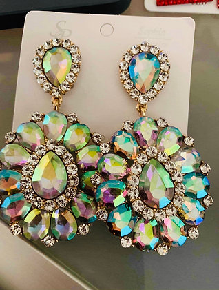 Large, light Multi-Colored Clip on earrings, with clear stones