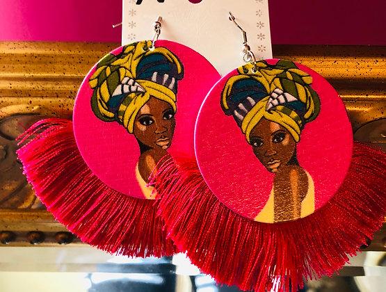 Fuchsia Pink fringed earrings