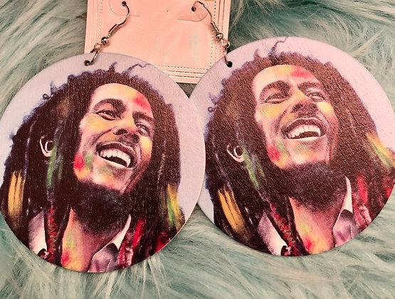 Bob Marley wooden earrings