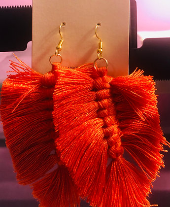 Rust colored, feathered cloth earrings