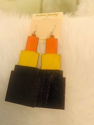 Orange, tricolor-wooden lipstick earrings