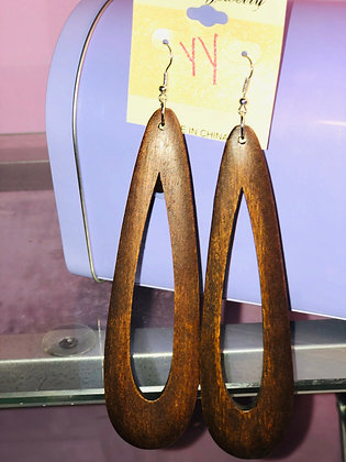Brown, wooden hanging earrings with fish hook backing