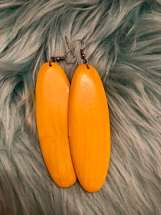 Long, Yellow wooden oval earrings