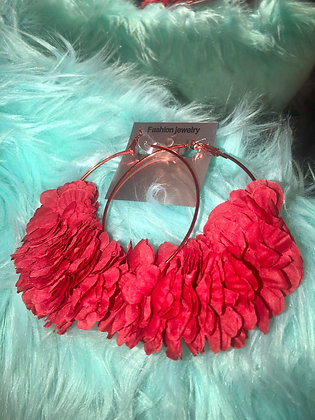 Large Red hoop earrings-feathered