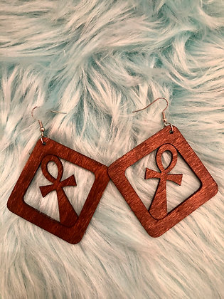 Small,Squared Ankh earrings (brown)