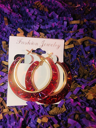 Red, confetti hoop earring W/gold inlay