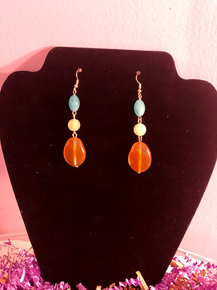 Amber colored 3 stone drop earrings