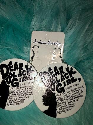 'Dear Black Girl' wooden earrings