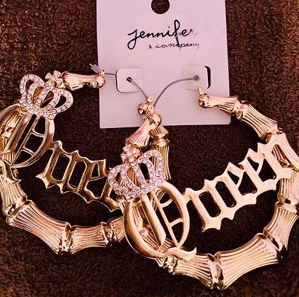 Gold tone hoop earrings W/'Queen' Inscription-Bling crown