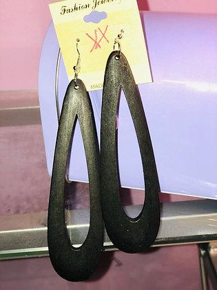 Black hanging earrings with tear drop shape-fish hook backing