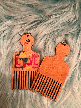 Brown 'pick' earrings with Love embossed on them