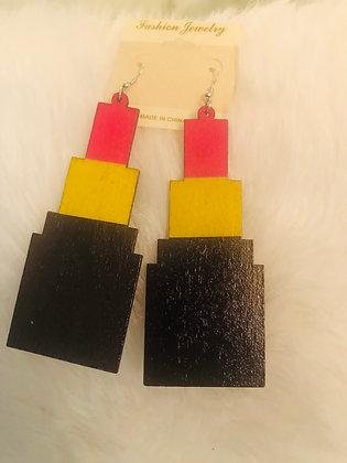 Red, tricolor-wooden lipstick earrings