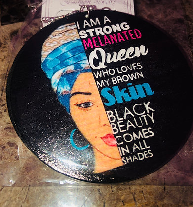 Blue head wrap earring with statement