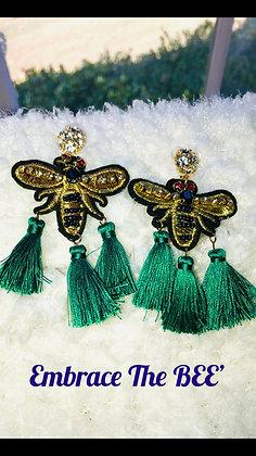 Green tasseled Bee earrings