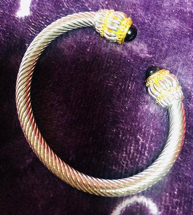Two-tone bangle bracelet W/Black Onyx inspired ball caps on end
