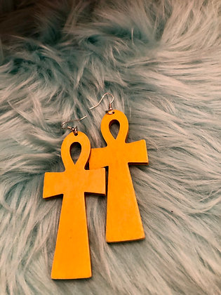 Large, wooden  hanging Ankh earrings