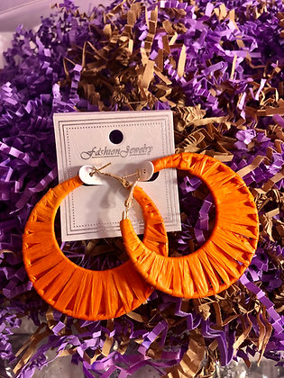 Orange paper themed earrings