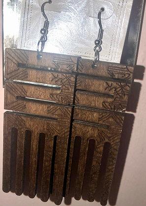 Long hanging brown earrings-wooden