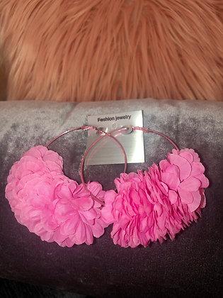 Large Pink hoop earrings-feathered