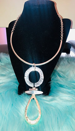 Silver tone Ankh necklace with Rolo chain-matching earrrings