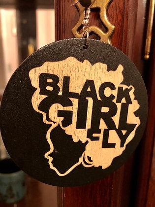 Large wooden 'Black Girl Fly' earrings