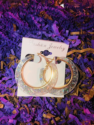 Clear-confetti , round hoop earring W/gold inlay