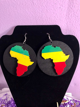 Large, round Africa Inspired earrings-multi-colored