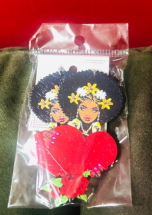Daisy Afro and heart earrings-