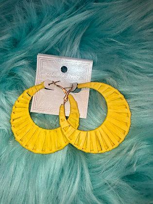 Bright yellow hoop earrings-paper motif