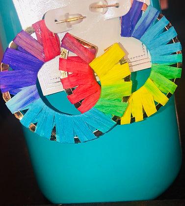 Multi-colored hoop earrings-paper motif