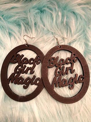 Large, oval 'Black Girl Magic' earrings