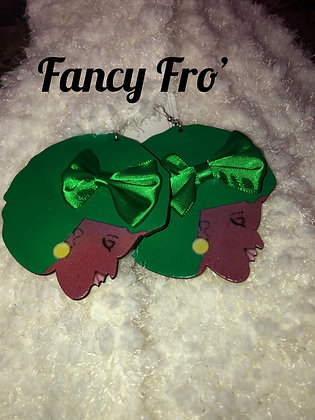 wooden green afro earrings