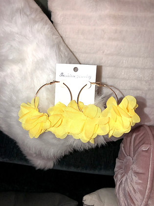 Small yellow hoop earrings-feathered