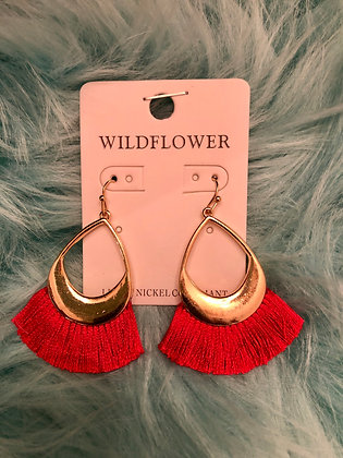 Small Red feathered earrings w/ Golden accent