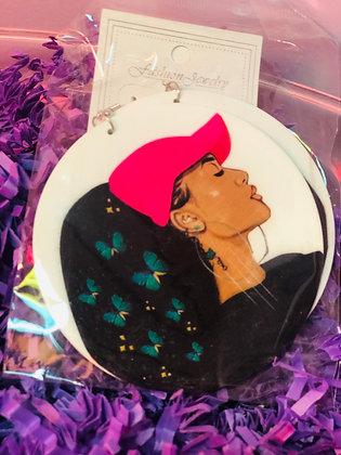 Butterfly earrings withPink cap