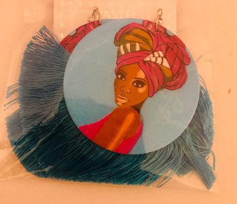 Teal blue head wrap earrings with fringe