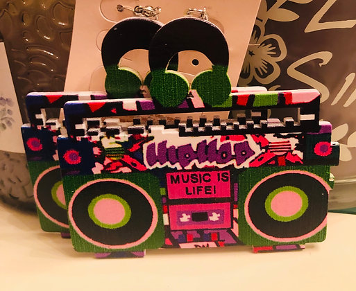 Pink- 'Music is Life' Rectangle earrings