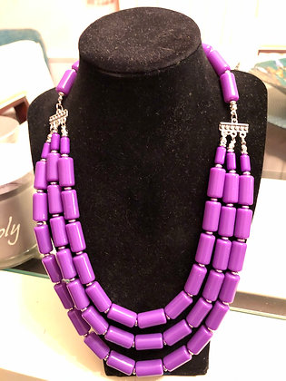 Lavender 3 strand  Beaded necklace, with matching earrings.