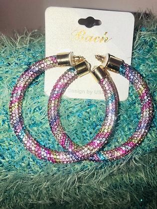 Light  Pink rainbow earrings W/gold end cap