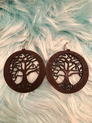 Small Black 'Tree of Life'- round earrings
