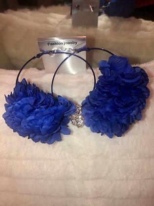 Large Blue hoop earrings-feathered