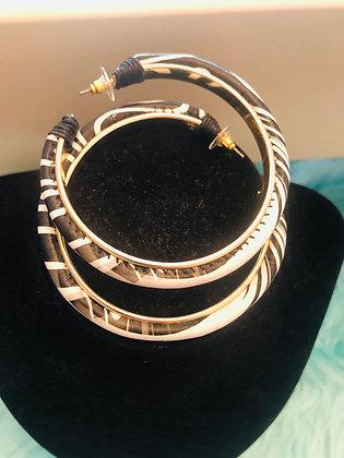 Black/White Leatherette hoop earrings