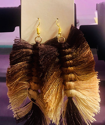 Three-toned brown, feathered cloth earrings