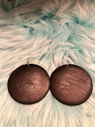 Black wooden, round earrings