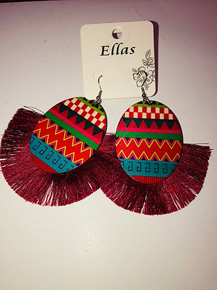 Multi-colored earrings with fringe