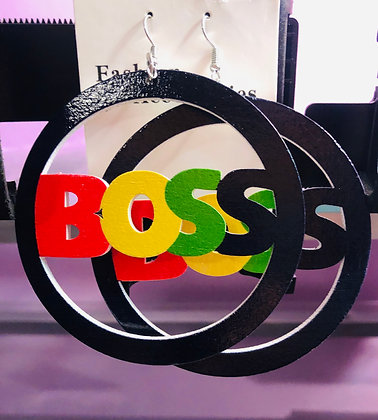 Multi-colored 'Boss' round earrings