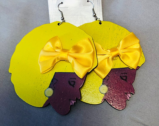 Bright Yellow afro earrings